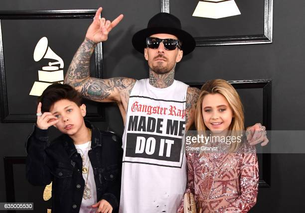 Travis Barker Landon Barker and Alabama Barker attend The 59th GRAMMY Awards at STAPLES Center on February 12 2017 in Los Angeles California