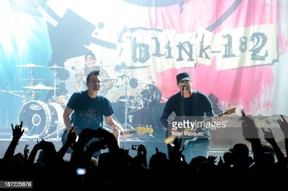 Travis Barker Mark Hoppus and Tom DeLonge of blink 182 perform at Hollywood Palladium on November 6 2013 in Hollywood California