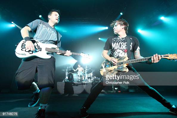 Travis Barker Mark Hoppus and Tom DeLonge of Blink182 performs at TMobile Sidekick Presents the 2009 Blink182 Tour at the Hollywood Palladium on...
