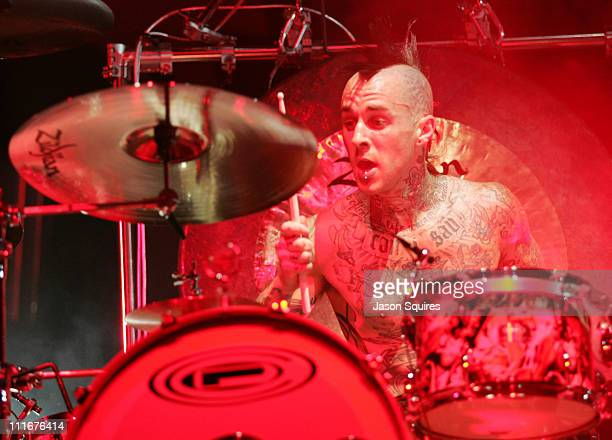 Travis Barker of Blink 182 during No Doubt and Blink 182 Tour Opener at the Verizon Wireless Music Center June 1 2004 at Verizon Wireless Music...
