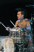 Travis Barker of Blink 182 during The 2003 KROQ Almost Acoustic Christmas Night Two at Universal Amphitheater in Universal City California United...