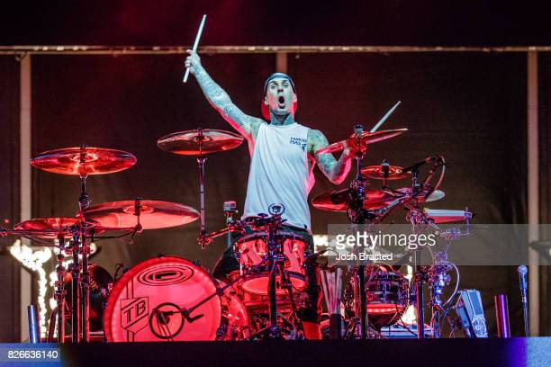 Travis Barker of Blink 182 performs at Lollapalooza 2017 at Grant Park on August 4 2017 in Chicago Illinois