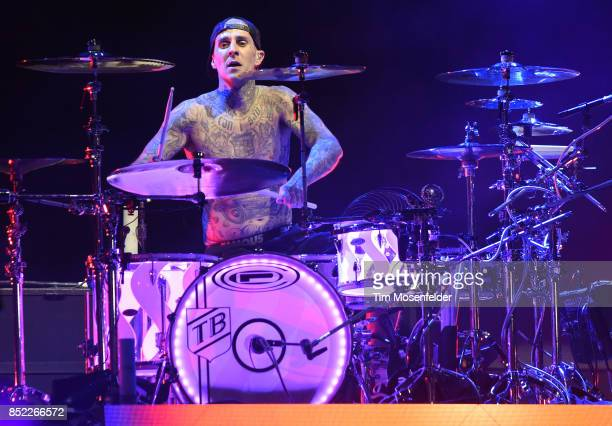 Travis Barker of Blink 182 performs during the 2017 Life is Beautiful Festival on September 22 2017 in Las Vegas Nevada