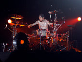 Travis Barker of Blink182 performs at TMobile Sidekick Presents the 2009 Blink182 Tour at the Hollywood Palladium on October 10 2009 in Hollywood...