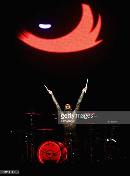 Travis Barker of blink182 performs on Ambassador Stage during day 1 of the 2017 Life Is Beautiful Festival on September 22 2017 in Las Vegas Nevada