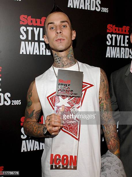 Travis Barker with Icon Award during 2005 Stuff Style Awards Red Carpet at Hollywood Roosevelt Hotel in Los Angeles California United States