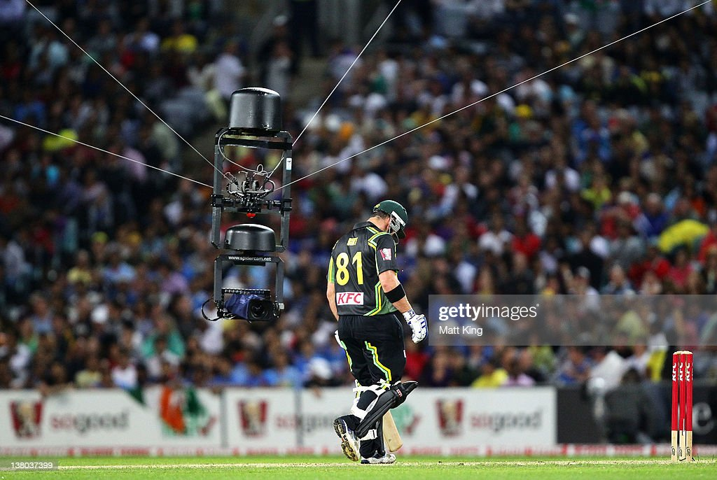 Travis Birt of Australia is filmed by the 'Spidercam' during the International Twenty20 match between Australia and India at ANZ Stadium on February...