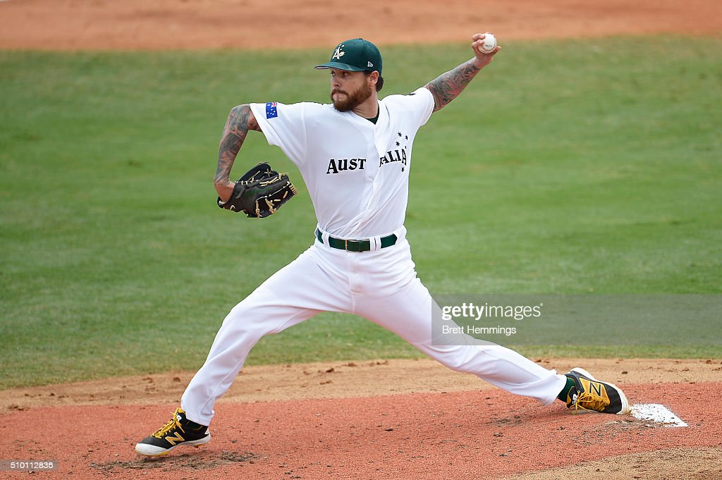 Travis Blackley of Australia pitches during the World baseball Classic Final match between Australia and South Africa at Blacktown International Sportspark on February 14, 2016 in Sydney, Australia.