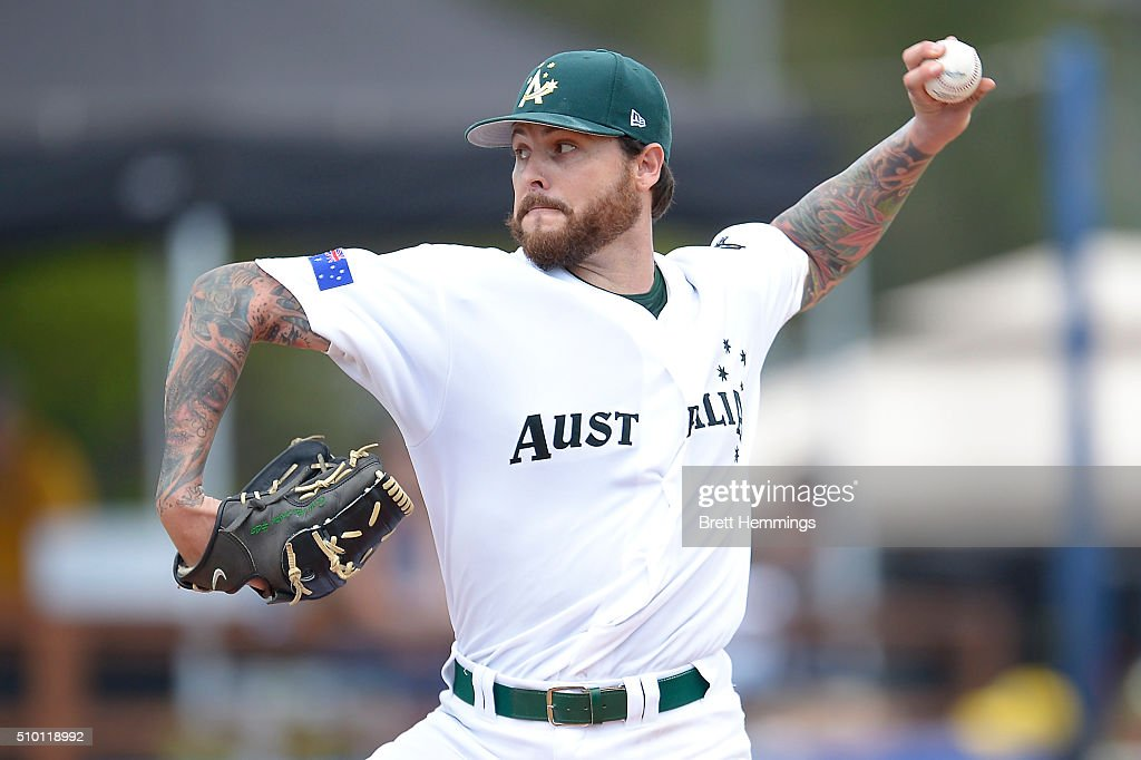 <a gi-track='captionPersonalityLinkClicked' href=/galleries/search?phrase=Travis+Blackley&family=editorial&specificpeople=834056 ng-click='$event.stopPropagation()'>Travis Blackley</a> of Australia pitches during the World baseball Classic Final match between Australia and South Africa at Blacktown International Sportspark on February 14, 2016 in Sydney, Australia.