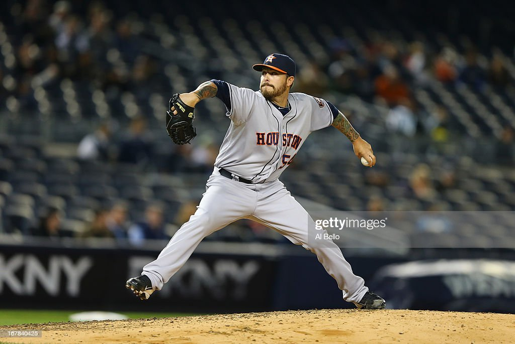 Travis Blackley #54 of the Houston Astros in action against the New York Yankees during their game on April 29, 2013 at Yankee Stadium in the Bronx borough of New York City