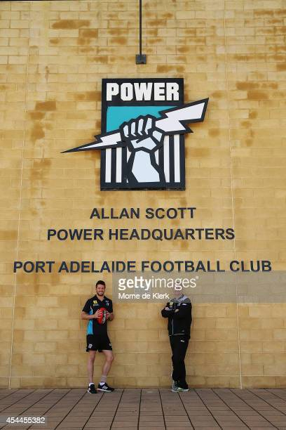 Travis Boak and Ken Hinkley of the Power pose for a photograph after speaking to the media during the AFL Finals Series Launch at Fox Footy on...