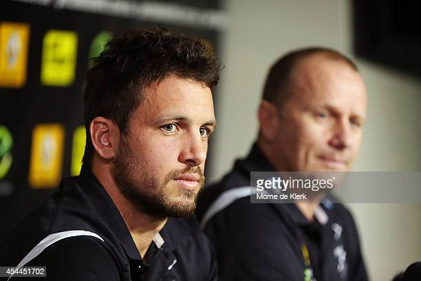 Travis Boak and Ken Hinkley of the Power speaks to the media during the AFL Finals Series Launch at Alberton on September 1 2014 in Adelaide Australia