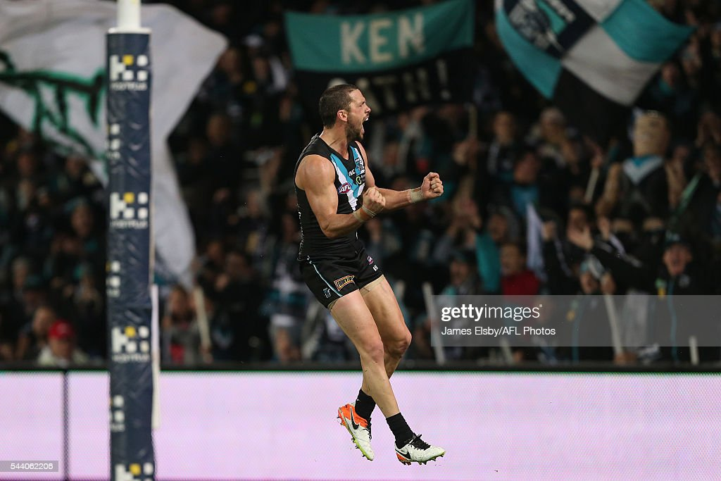 Travis Boak of the Power celebrates a goal during the 2016 AFL Round 15 match between Port Adelaide Power and the Richmond Tigers at Adelaide Oval on July 1, 2016 in Adelaide, Australia.