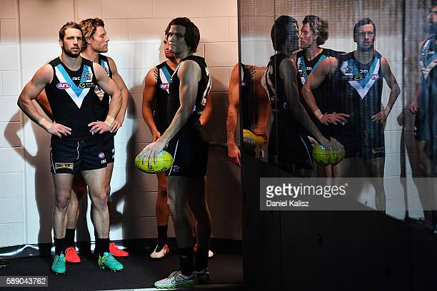Travis Boak of the Power waits to lead his team out onto the ground prior to the round 21 AFL match between the Port Adelaide Power and the Melbourne...