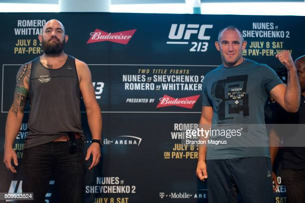 Travis Browne and Aleksei Oleinik of Russia pose for a picture for the media during the UFC 213 Ultimate Media Day at TMobile Arena on July 6 2017 in...