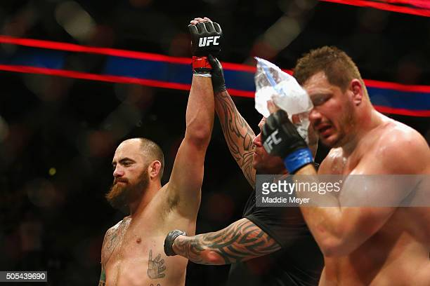 Travis Browne celebrates defeating Matt Mitrione in their heavyweight bout during UFC Fight Night 81 at TD Banknorth Garden on January 17 2016 in...
