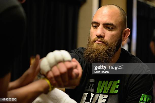 Travis Browne gets his hands taped backstage during the UFC 187 event at the MGM Grand Garden Arena on May 23 2015 in Las Vegas Nevada