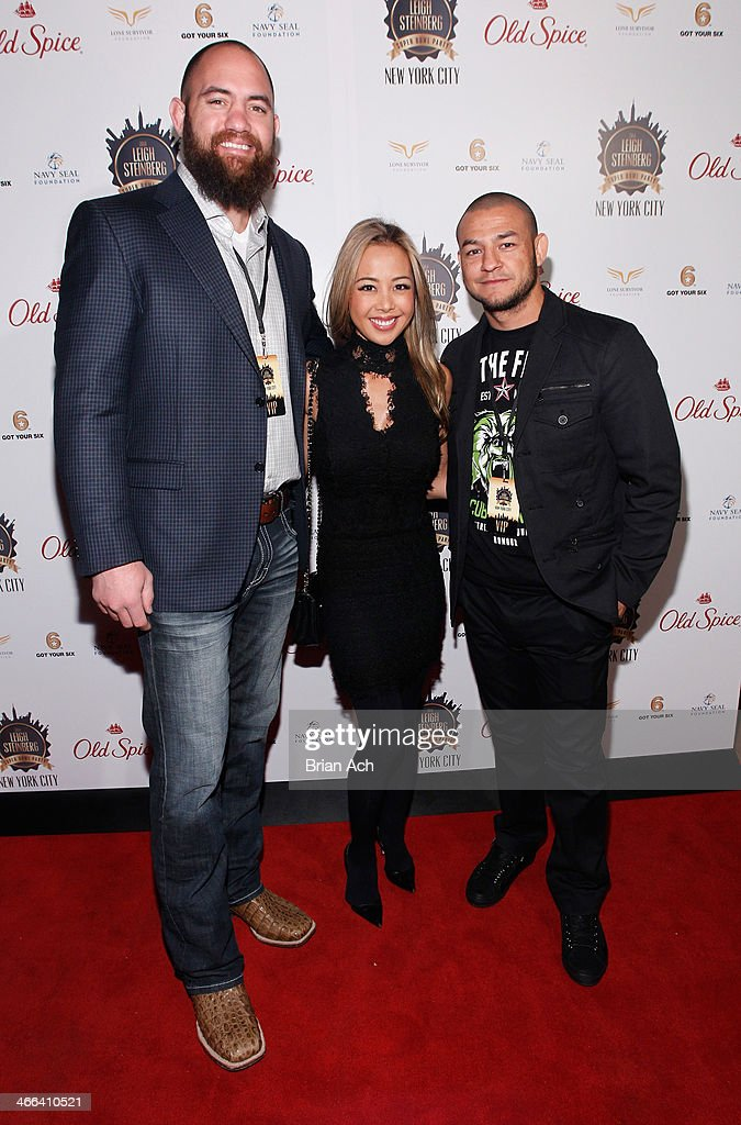 Travis Browne, guest and Cub Swanson attends the 2014 Leigh Steinberg Super Bowl Party at 230 Fifth Avenue on February 1, 2014 in New York City.