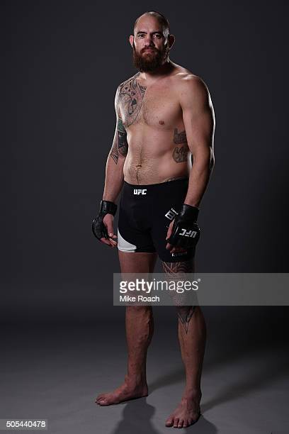 Travis Browne poses for a portrait backstage after his victory over Matt Mitrione during the UFC Fight Night event inside TD Garden on January 17...