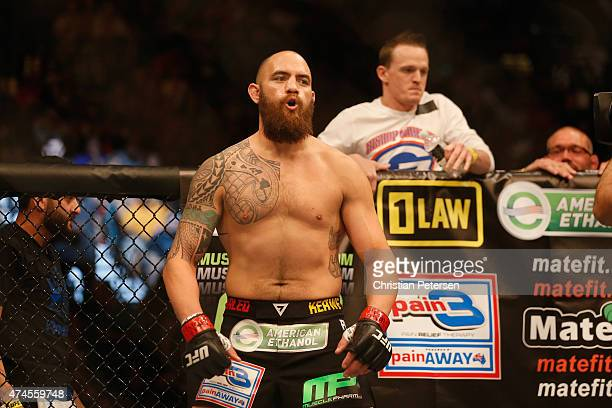 Travis Browne prepares to face Andrei Arlovski in their heavyweight bout during the UFC 187 event at the MGM Grand Garden Arena on May 23 2015 in Las...