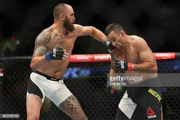 Travis Browne punches Fabricio Werdum during the UFC 203 event at Quicken Loans Arena on September 10 2016 in Cleveland Ohio