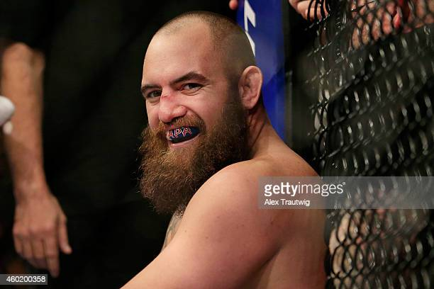 Travis Browne reacts after defeating Brendan Schaub in their fight during the UFC 181 event at the Mandalay Bay Events Center on December 6 2014 in...