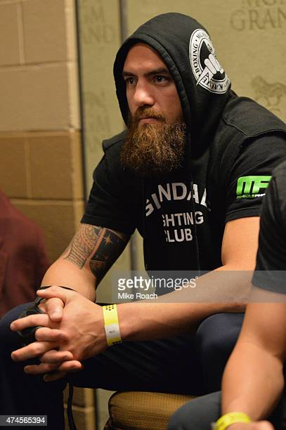 Travis Browne rests backstage during the UFC 187 event at the MGM Grand Garden Arena on May 23 2015 in Las Vegas Nevada
