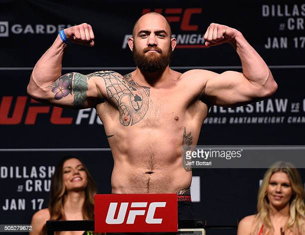 Travis Browne weighs in during the UFC weighin at the Wang Theatre on January 16 2016 in Boston Massachusetts