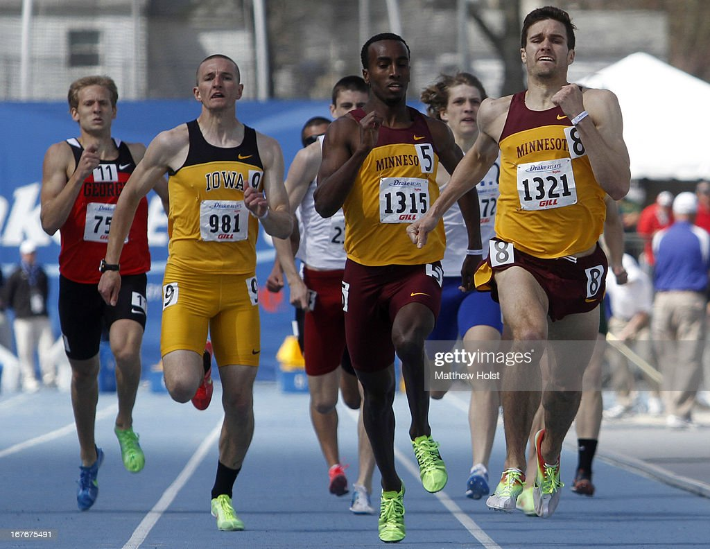 Travis Burkstrand, right, and Harun Abda, of the Minnesota Gophers, finish ahead of the pack in the Men's 800-meter at the Drake Relays, on April 27, 2013 at Drake Stadium, in Des Moines, Iowa.