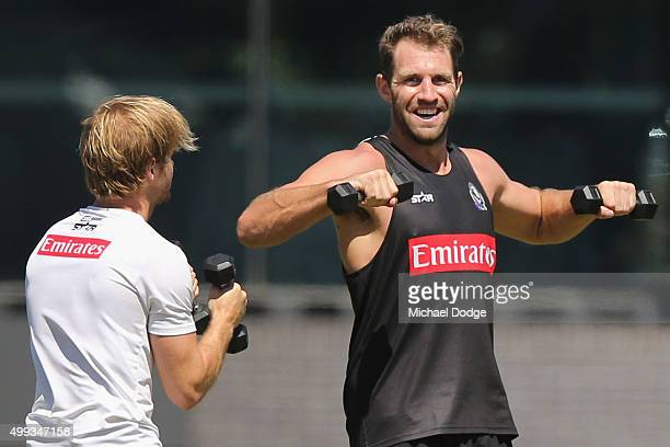 Travis Cloke lifts weights during a Collingwood Magpies AFL preseason training session at Gosch's Paddock on December 1 2015 in Melbourne Australia