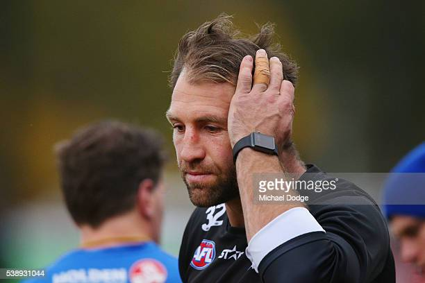 Travis Cloke of the Magpies dropped again for the match this weekend looks ahead during a Collingwood Magpies AFL media opportunity at the Glasshouse...