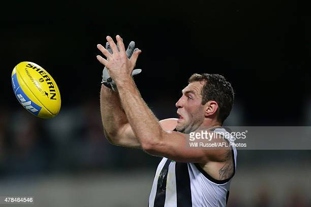 Travis Cloke of the Magpies goes for the mark during the round 13 AFL match between the Fremantle Dockers and the Collingwood Magpies at Domain...