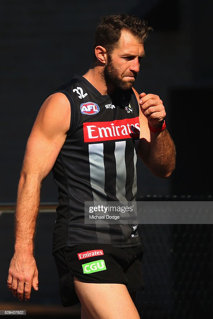 Travis Cloke of the Magpies, relegated to the reserves for the past two weeks, looks thoughtful during a Collingwood Magpies AFL training session on May 5, 2016 in Melbourne, Australia.
