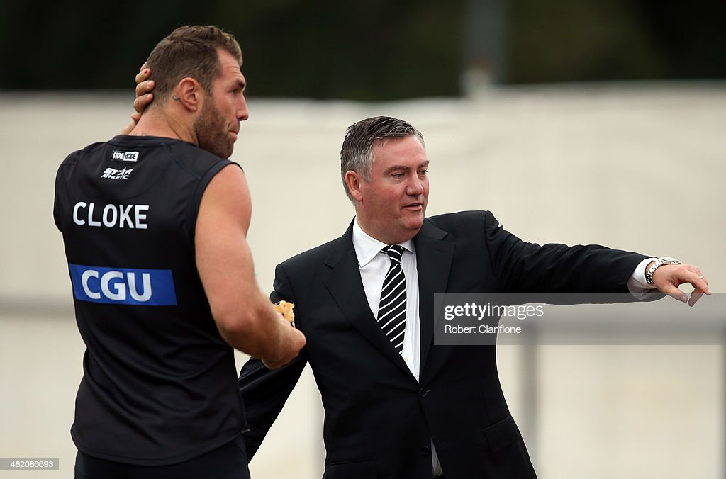 Travis Cloke of the Magpies talks with club president Eddie McGuire during a Collingwond Magpies AFL training session at Olympic Park on April 3 2014...