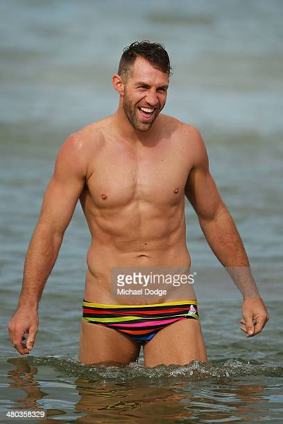 Travis Cloke reacts during a Collingwood Magpies AFL recovery session at St Kilda Sea Baths on March 25 2014 in Melbourne Australia