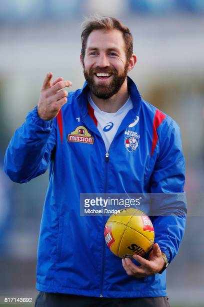 Travis Cloke reacts during a Western Bulldogs AFL training session at Whitten Oval on July 18 2017 in Melbourne Australia