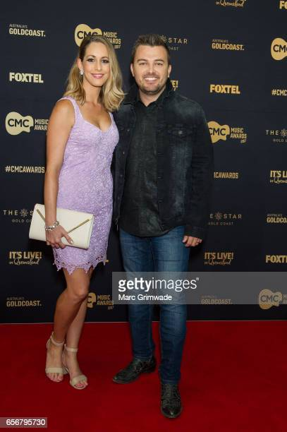 Travis Collins and his wife Bec Collins arrives ahead of the 7th Annual CMC Music Awards 2017 at The Star Gold Coast on March 23 2017 in Gold Coast...