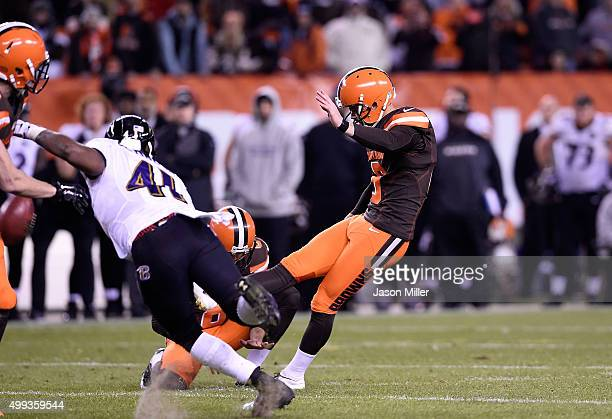 Travis Coons of the Cleveland Browns has his field goal blocked during the fourth quarter against the Baltimore Ravens FirstEnergy Stadium on...