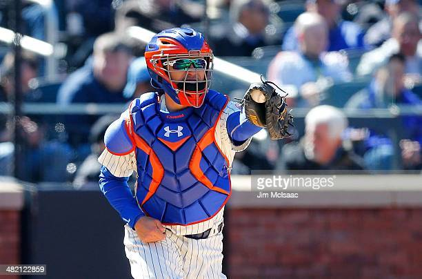 Travis d'Arnaud of the New York Mets in action against the Washington Nationals during their Opening Day game at Citi Field on March 31 2014 in the...
