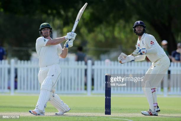 Travis Dean of the Cricket Australia XI bats during the Two Day tour match between the Cricket Australia CA XI and England at Richardson Park on...