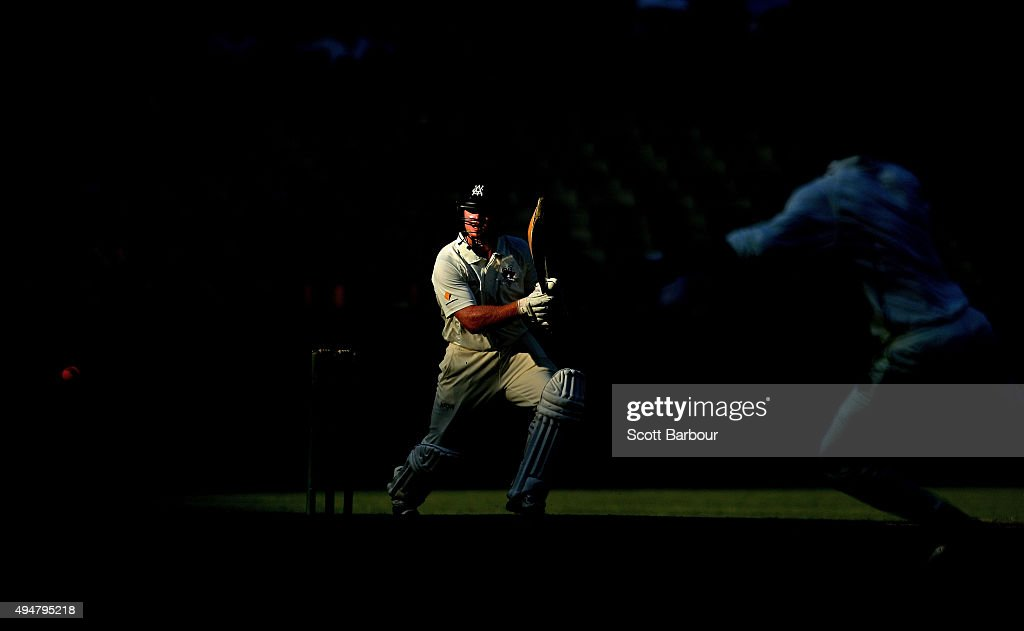 Travis Dean of Victoria faces the pink ball as he bats during day two of the Sheffield Shield match between Victoria and Queensland at Melbourne...