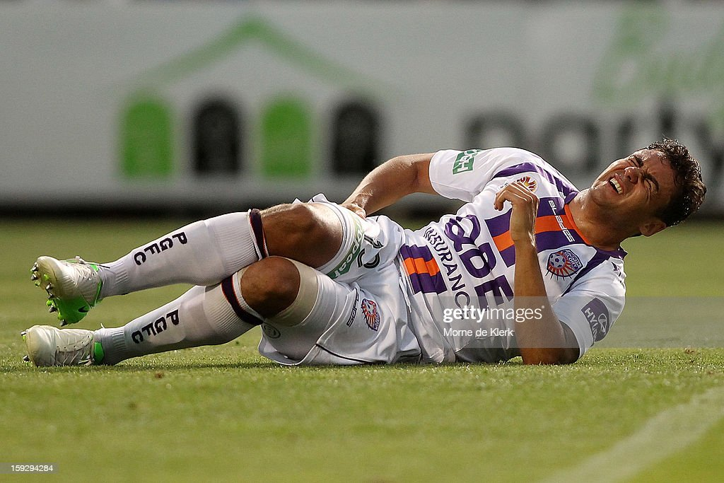 Travis Dodd of Perth reacts during the round 16 A-League match between Adelaide United and the Perth Glory at Hindmarsh Stadium on January 11, 2013 in Adelaide, Australia.