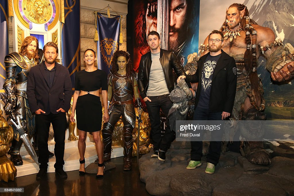 Travis Fimmel, Paula Patton, Toby Kebbell and Duncan Jones attend the launch of the Warcraft Experience at Madame Tussauds on May 27, 2016 in London, England.