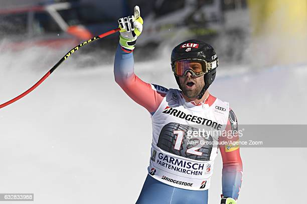 Travis Ganong celebrates during the Audi FIS Alpine Ski World Cup Men's Downhill on January 27 2017 in GarmischPartenkirchen Germany