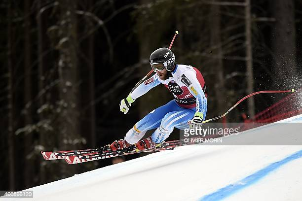 US Travis Ganong competes during the Men's FIS Ski World Cup downhill race on December 28 2014 in Santa Caterina AFP PHOTO / OLIVIER MORIN