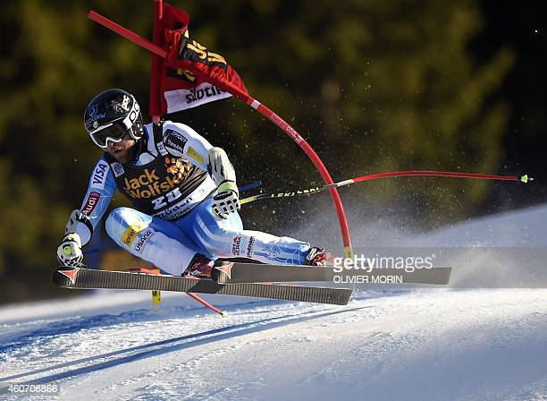 US Travis Ganong competes during the mens Super G at the FIS Alpine Skiing World Cup in Val Gardena on December 20 2014 AFP PHOTO / OLVIER MORIN