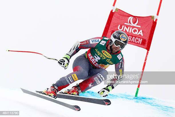 Travis Ganong of the United States competes during the Audi FIS Alpine Ski World Cup Men's Super G on February 22 2015 in Saalbach Austria