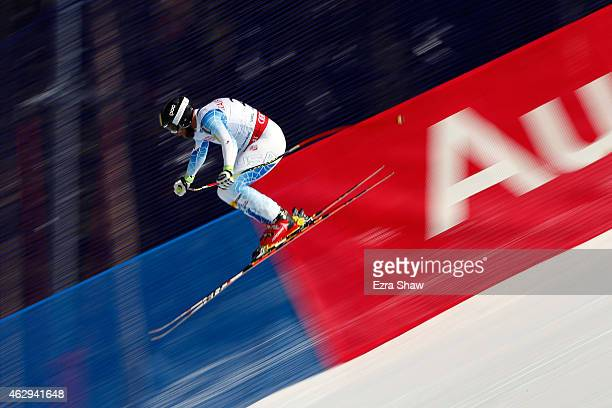 Travis Ganong of the United States races during the Men's Downhill on the Birds of Prey racecourse on Day 6 of the 2015 FIS Alpine World Ski...