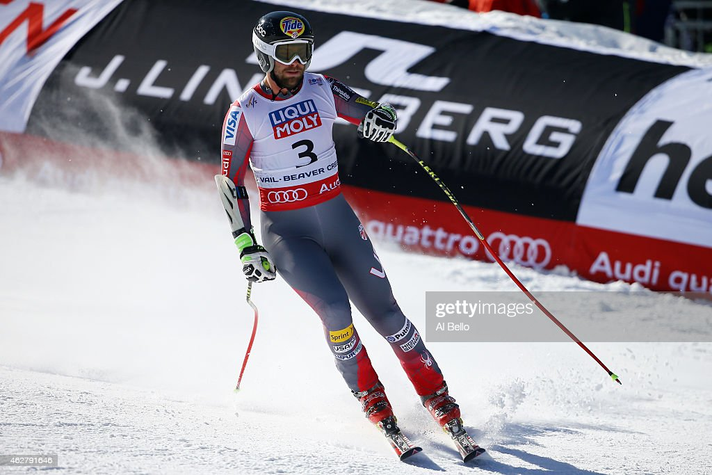 <a gi-track='captionPersonalityLinkClicked' href=/galleries/search?phrase=Travis+Ganong&family=editorial&specificpeople=6176023 ng-click='$event.stopPropagation()'>Travis Ganong</a> of the United States reacts after crossing the finish of the Men's Super-G in Red Tail Stadium on Day 4 of the 2015 FIS Alpine World Ski Championships on February 5, 2015 in Beaver Creek, Colorado.