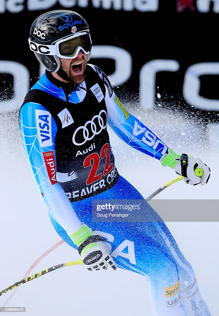 <a gi-track='captionPersonalityLinkClicked' href=/galleries/search?phrase=Travis+Ganong&family=editorial&specificpeople=6176023 ng-click='$event.stopPropagation()'>Travis Ganong</a> of the United States reacts in the finish area during the Audi FIS World Cup Men's Downhill Race on the Birds of Prey course on December 5, 2014 in Beaver Creek, Colorado.